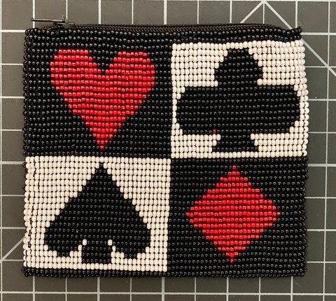 Beaded Coin Purse - Playing Cards Design