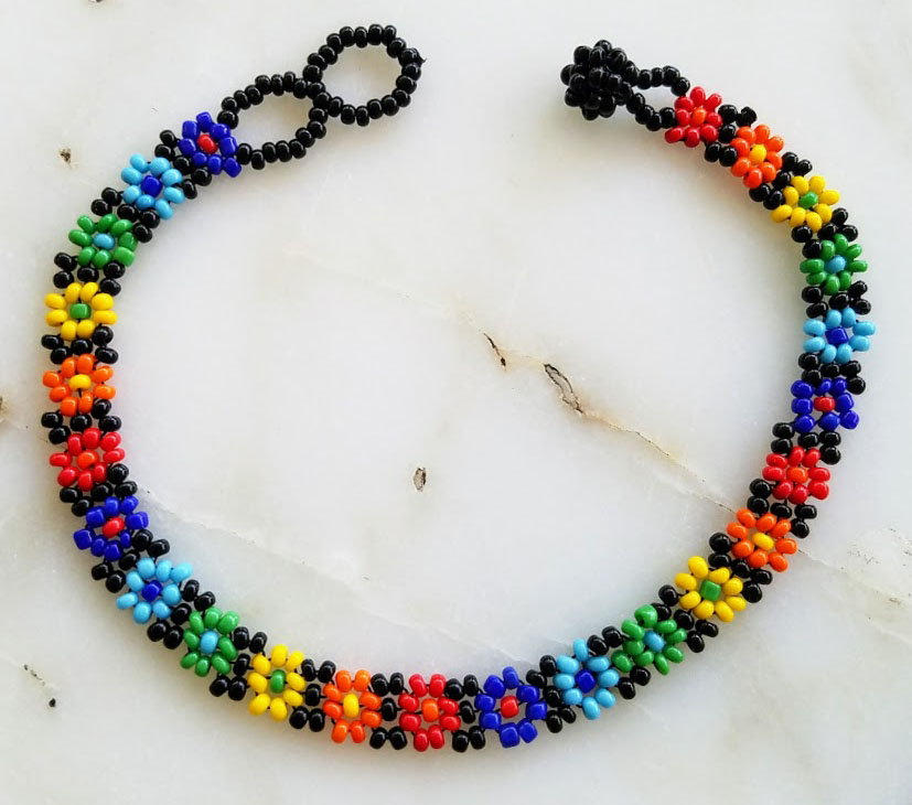 Beaded Daisy Chain Anklet Rainbow