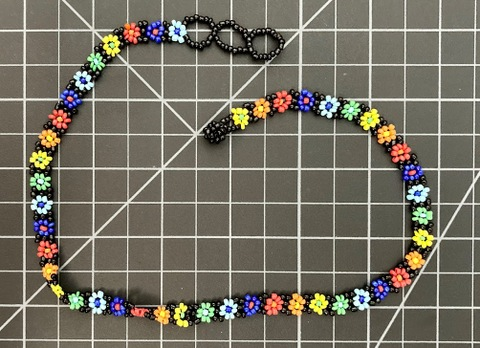 Beaded Daisy Chain Necklace - Rainbow