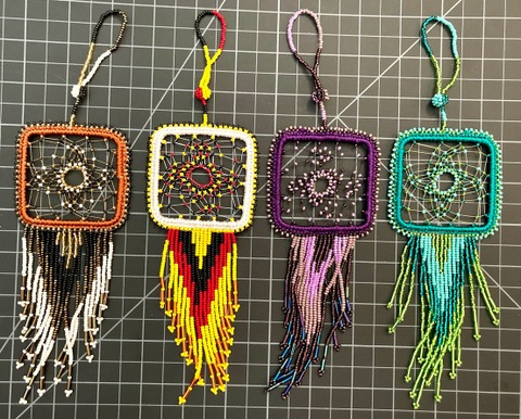 Beaded Dreamcatcher Ornament - Square Native American style