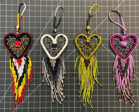 Beaded Dreamcatcher Ornament - heart Native American style
