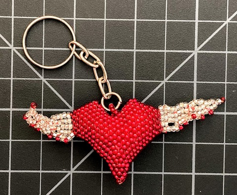 Beaded Flying Heart Keychain