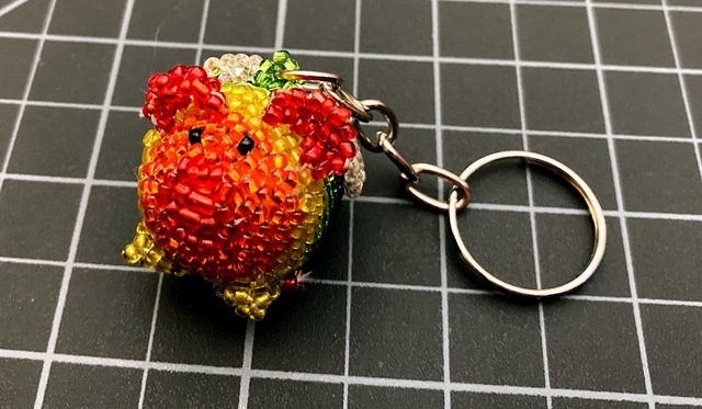 beaded flying pig rainbow keychain Rainbow