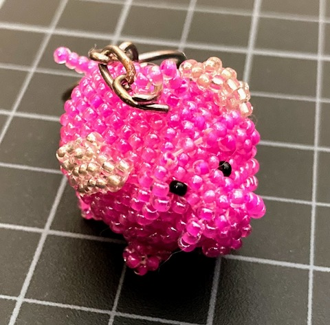 Beaded Flying Pig Keychain