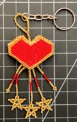 Beaded Heart Keychain