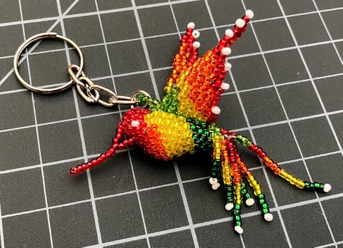 Beaded Hummingbird Keychain - Rainbow Rainbow