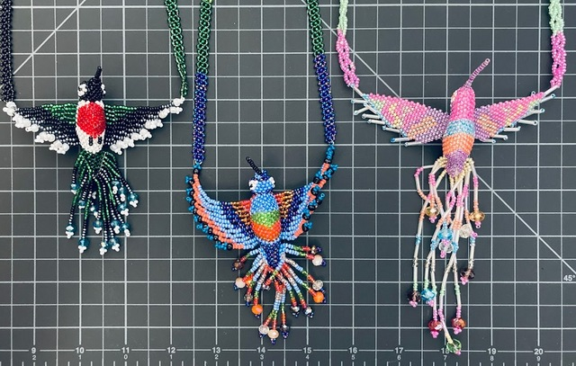 Beaded Hummingbird Necklace - Large