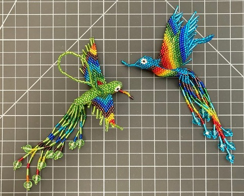 Beaded Hummingbird Ornament - Large Rainbow rainbow