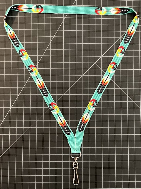Beaded Lanyard - Mix Of Multicolors And Native American Colors