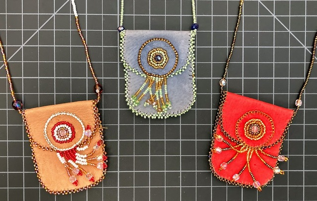 Beaded Leather Medicine Pouch Native American style