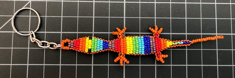 Beaded Lizard Gecko Keychain - Large Rainbow Rainbow