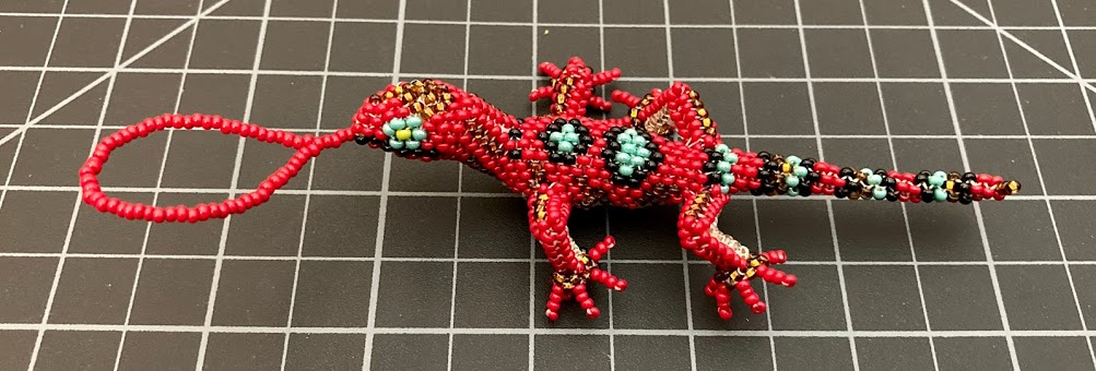 Beaded Lizard / Gecko Ornament - Large