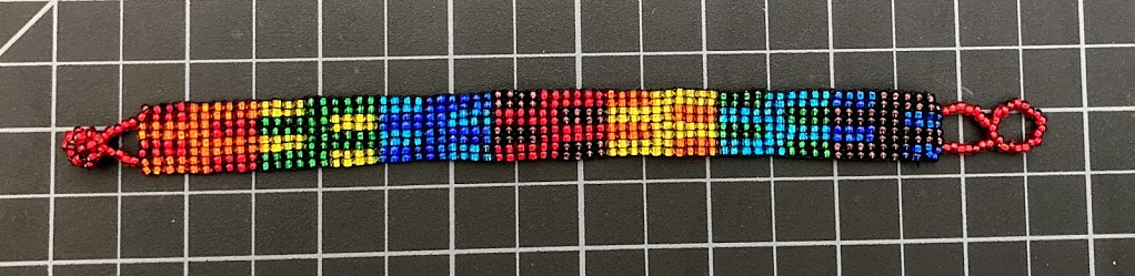 Beaded Loomed 8 Row Bracelet Rainbow