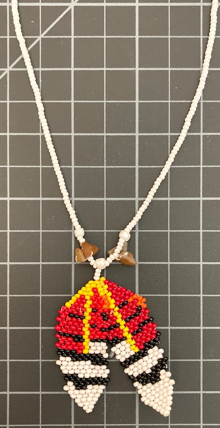 Beaded Native American Feather Necklace native american style
