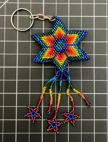 Beaded Star Keychain - Rainbow Rainbow