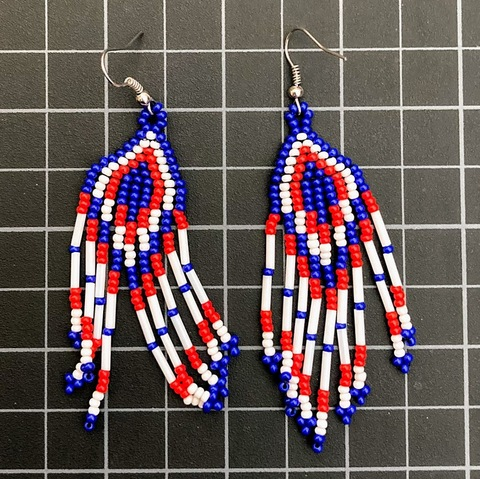 Beaded Traditional Earrings Red white and Blue