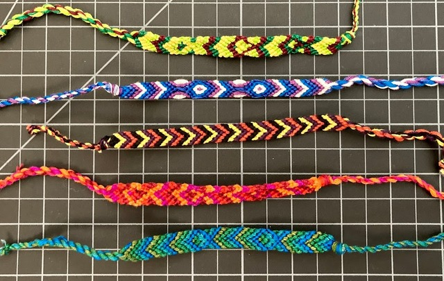 Cotton Chevron Friendship Bracelet 1/4 Inch Tie Close