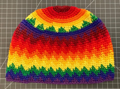Cotton Skull Cap / Kufi Hat large rainbow