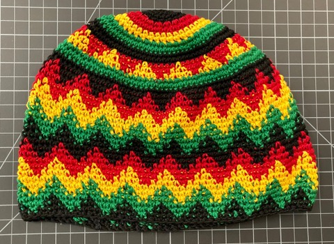 Cotton Skull Cap / Kufi Hat large rasta