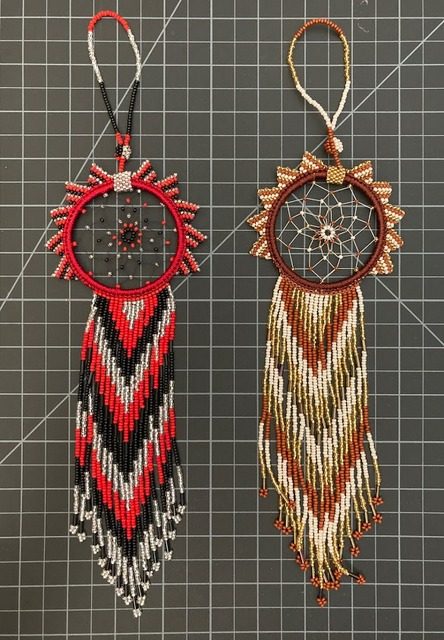 Native American Style Beaded Dreamcatcher Ornament - Large Native American style