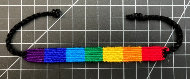 Rainbow Cotton Block Friendship Bracelet 1/2 Inch