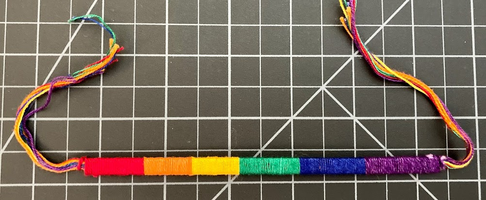 Rainbow Cotton Block Friendship Bracelet 1/4 Inch Internal Plastic Strip rainbow