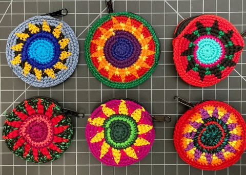 Small Round Crochet Coin Purse multicolors