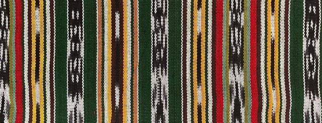 Thick Jaspe cloth (ikat) green brown red black