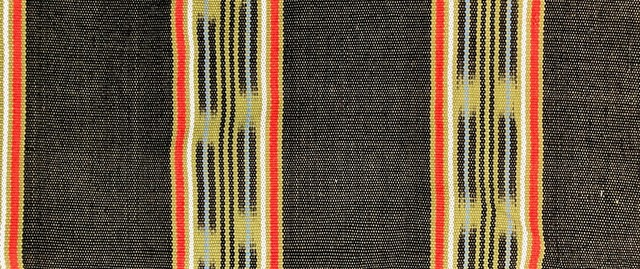 Thick Jaspe cloth (ikat) tan black orange blue