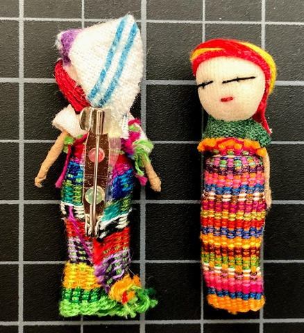 Two Inch Worry Doll With Badge Pin