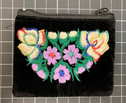 Velvet Embroidered Coin Purse