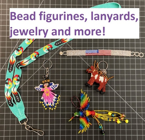 Bead jewelry, figurines, lanyards, and more