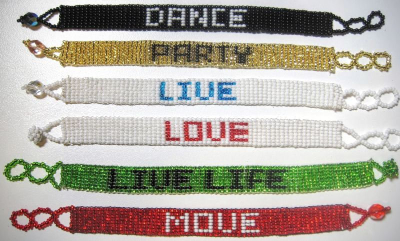 Beaded Loomed 8 Row Bracelet Custom Letters