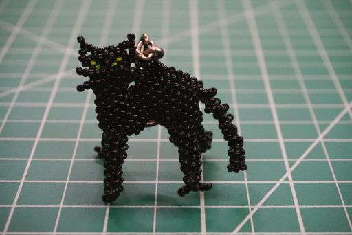 Beaded Cat With Back Arched Keychain