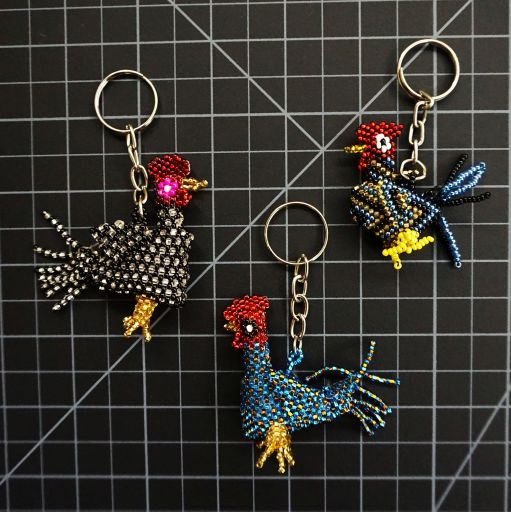 Beaded Chicken / Rooster Keychain