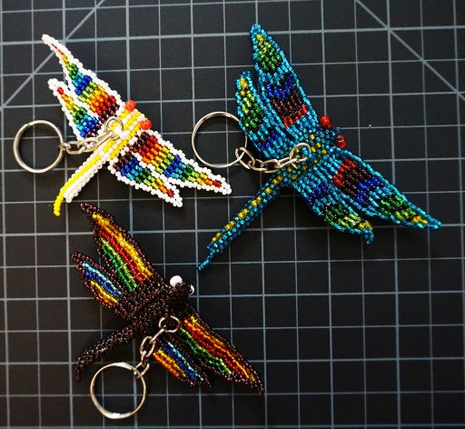 Beaded Dragonfly Keychain - Rainbow Rainbow