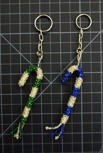 Beaded Candy Cane Keychain