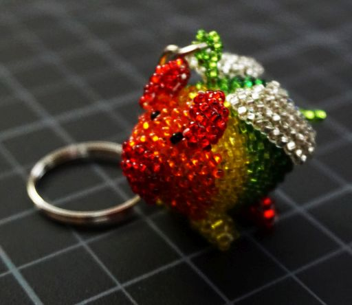 Beaded Flying Pig Keychain - Rainbow Rainbow