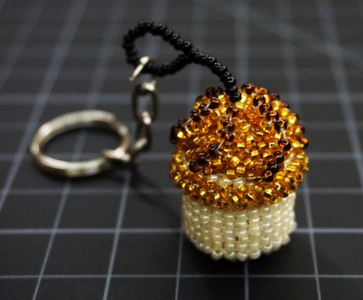 Beaded Cupcake Keychain