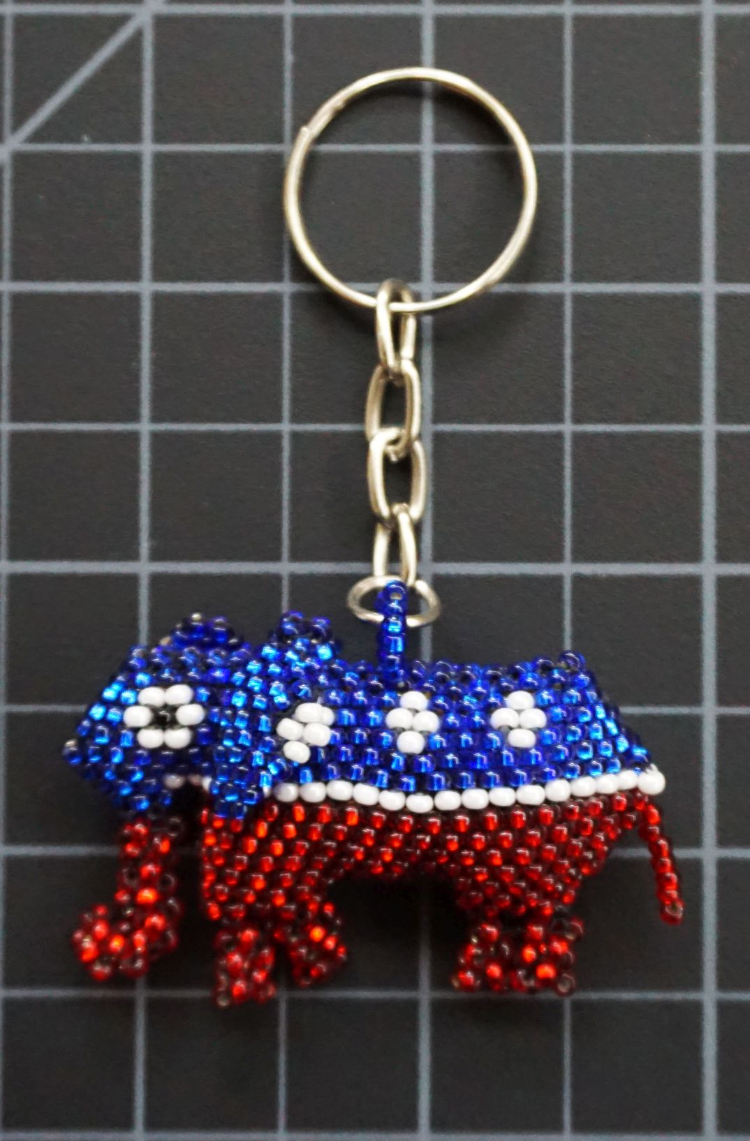 Beaded Red White and Blue Elephant Keychain