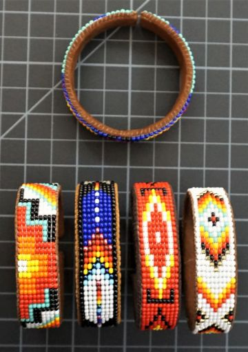 Leather Bead Cuff Native American Style 9 Row Native American Style