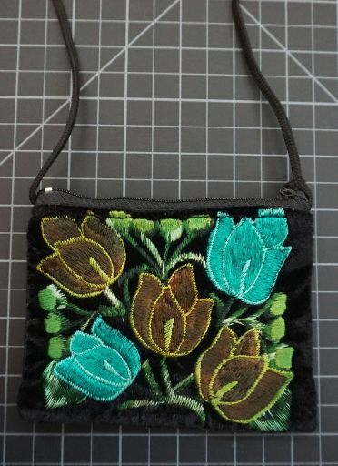 Velvet Embroidered Coin Purse With Shoulder Strap