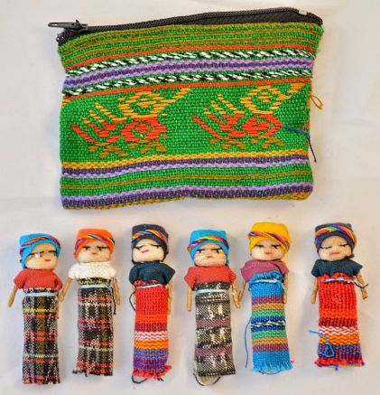 Worry Doll Coin Purse With 6 Two Inch Dolls